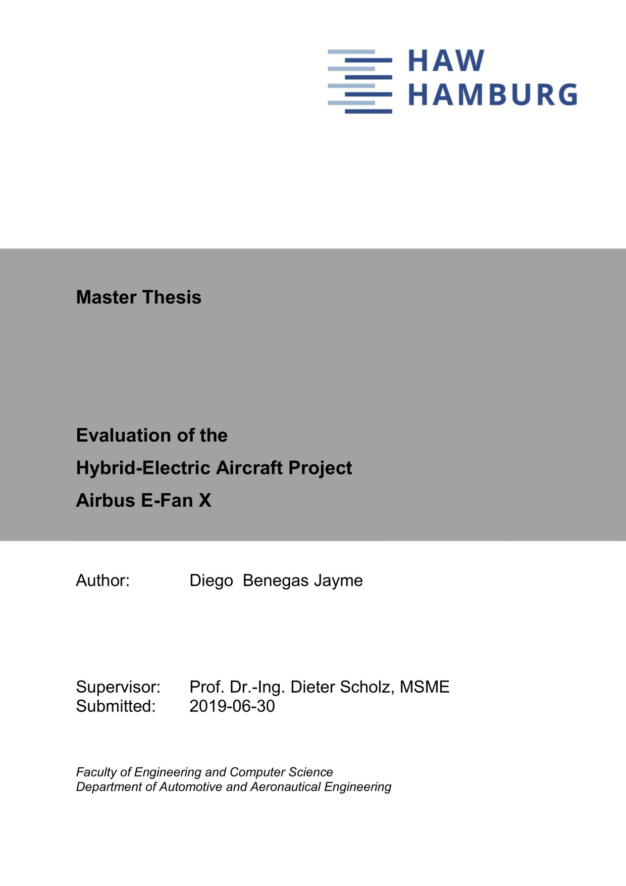 Thumbnail image of Evaluation of the Hybrid-Electric Aircraft Project...