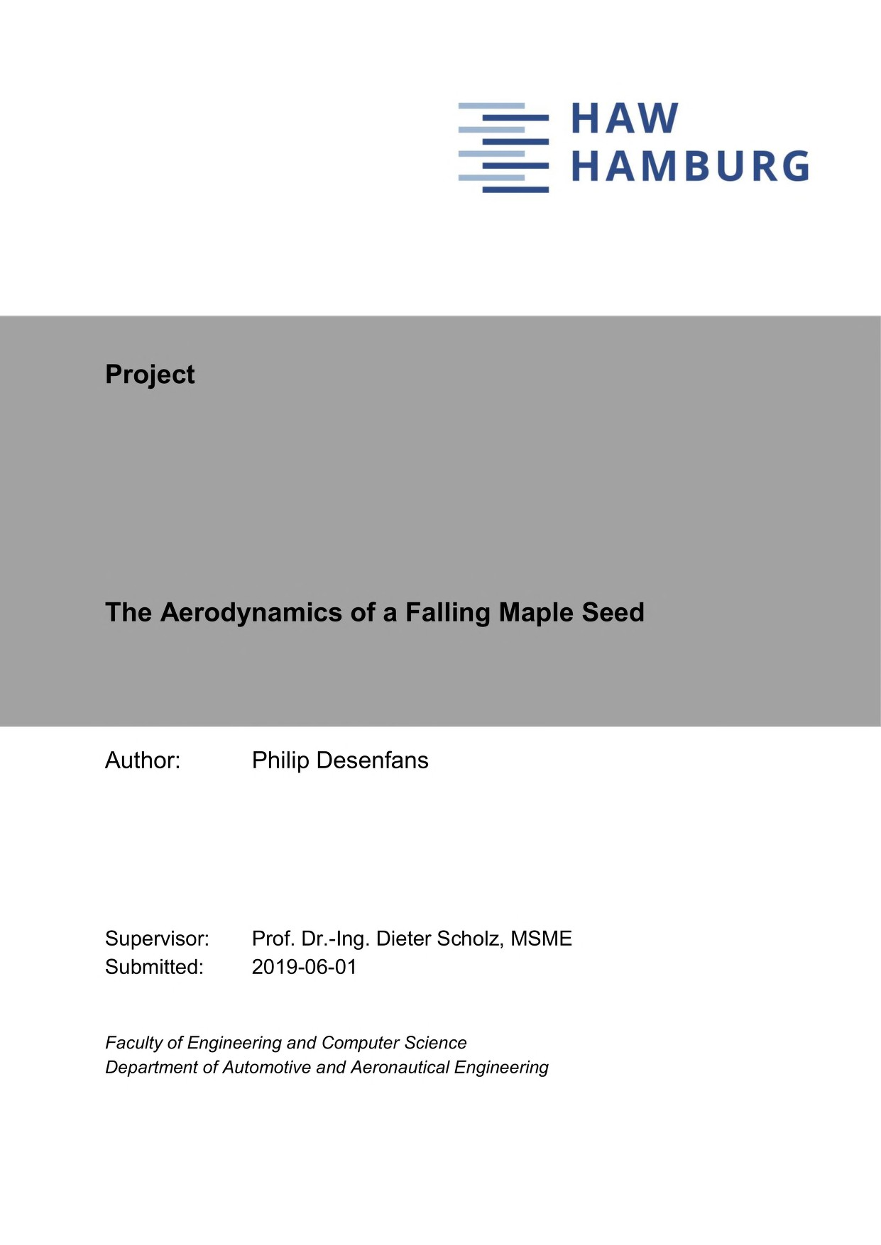 Thumbnail image of Aerodynamics of the Maple Seed