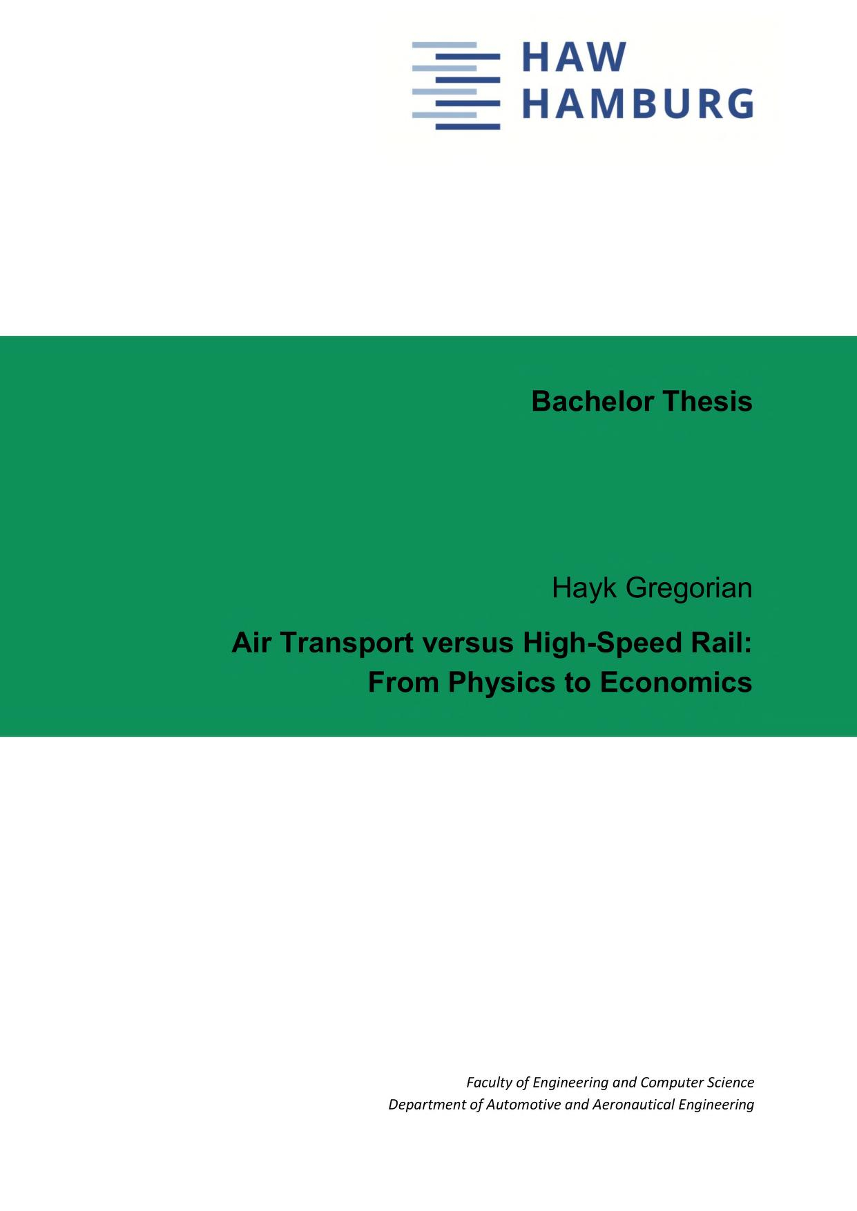 Thumbnail image ofAir Transport versus High-Speed Rail: From Physics...