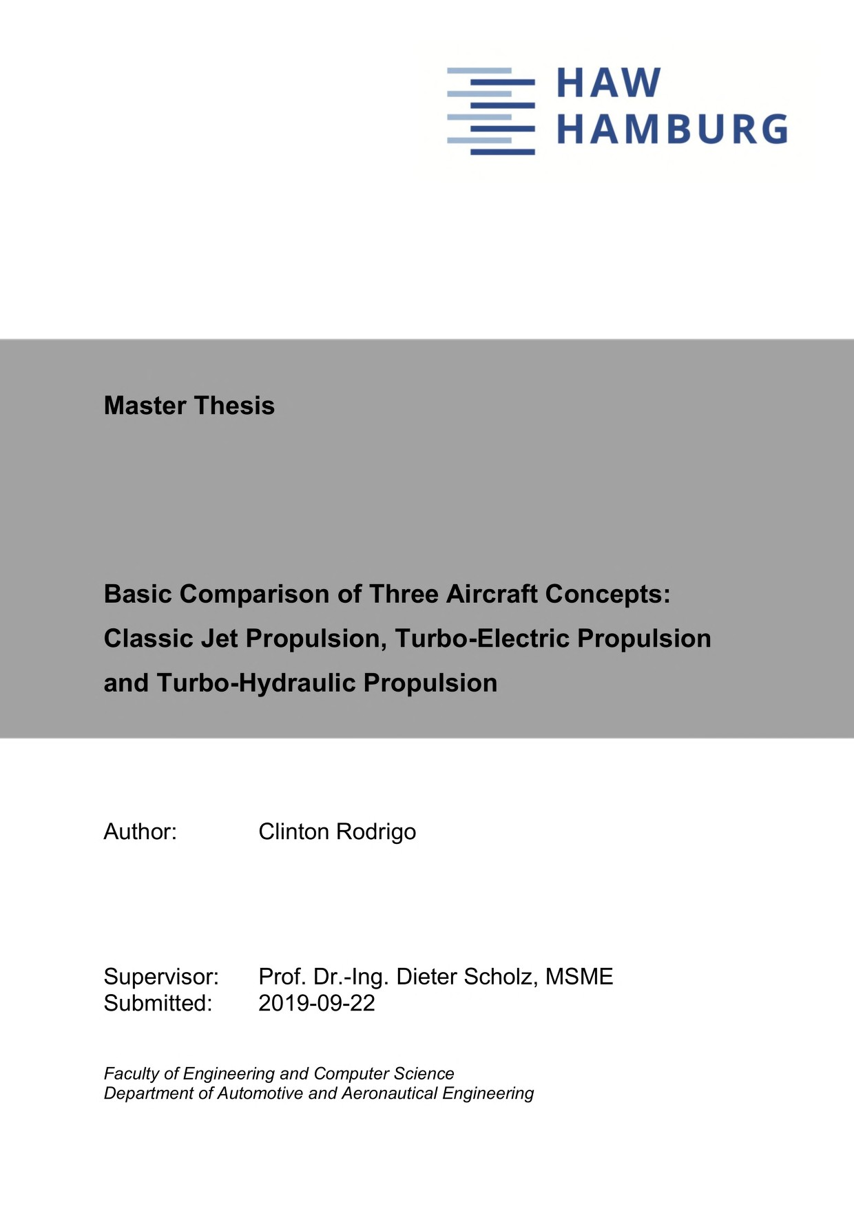 Thumbnail image of Basic Comparison of Three Aircraft Concepts: Classic...